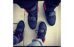 2510e055e10 Kanye West and Kim Kardashian Wear Kanye s Air Yeezy II Sneakers