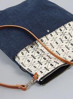 Shoulder bags – bag KLARA 7 // dark blue – a designer product from MINUK be … - Alice Holland Pochette Diy, Diy Bags Purses, Diy Handbag, Fabric Bags, Fabric Labels, Bag Patterns To Sew, Denim Bag, Cotton Bag, Knitted Bags