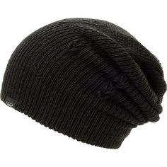 Stay warm and accent an outfit instantly with a new Vans black beanie. Keep it rolled or fold down the hem for a slouch beanie in a Black colorway, ribbed knit construction, and a Vans brand tag on the cuff for added style.