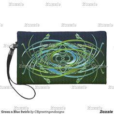 Green n Blue Swirls Wristlet