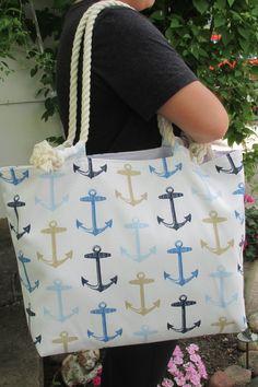 Nautical Anchors Large Beach Tote Bag Vacation Bag Monogram