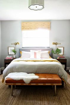 Simple Bedroom Inspiration, I've been thinking of going all gray but this is a much warmer version