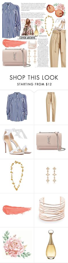 """Stripe Mood"" by guiarch ❤ liked on Polyvore featuring Polo Ralph Lauren, Alexandre Birman, Yves Saint Laurent, Aurélie Bidermann, By Terry, Alexis Bittar, Christian Dior and Salvatore Ferragamo"