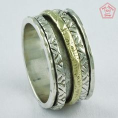 Sz 7 US, HANDMADE HAMMERED DESIGN 925 STERLING SILVER SPINNER RING, R4640 #SilvexImagesIndiaPvtLtd #Spinner #AllOccasions