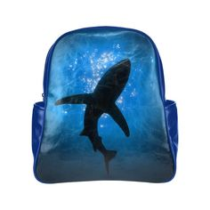 Shark Silhouette Multi Pocket Backpack Bag School Bag Laptop Bag #EReyna16…