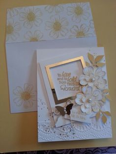 Lovely Wedding card. SU! Petite Petals, Flower Shop by SandiB.