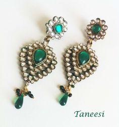 Green Kundan Earrings, Green earrings,Peacock  Chandelier earrings, Indian Kundan Earrings,Prom Jewelry,Kundan Jewellery by Taneesi Jewelry. $69.99, via Etsy.