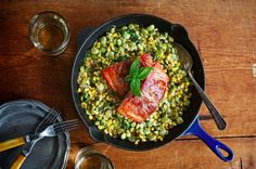 This recipe is hip-happening...Prosciutto-wrapped salmon with corn and poblano succotash