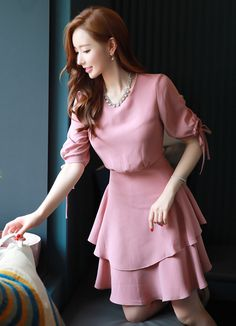 Shirred Sleeve Two Tier Flared Dress Korean Women's Fashion Shopping Mall, Styleonme. Stylish Dresses, Simple Dresses, Pretty Dresses, Casual Dresses, Hijab Fashion, Korean Fashion, Girl Fashion, Fashion Dresses, Womens Fashion