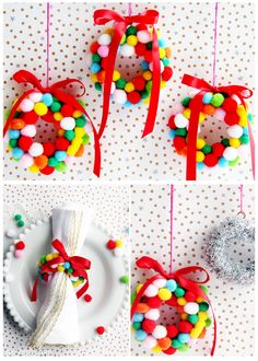 Mini pom pom Christmas wreath tutorial - use for hanging on the tree, or napkin rings!