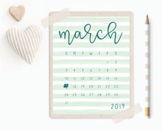 March 2019 Calendar Printable - St. Patrick's Day Printable Decor - Instant Download Calendar - March Planner - March Bullet Journal Cover Printable Planner, Printables, March Bullet Journal, 2019 Calendar, Decoration, 9 And 10, Journal Ideas, Unique Jewelry, Handmade Gifts