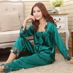 New Style Women Silk Pajamas Sets 2015 Spring Summer Design Elegant Lace Embroidered Female Satin Pajamas,Red,Green,Dark Pink