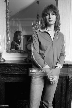 British guitarist Steve Howe and bass guitarist and backing vocalist Chris Squire, of the progressive rock band YES, in a room at The Plaza Hotel in New York City.