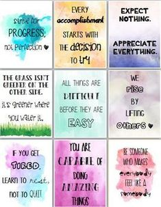 9 affirmation posters [watercolor] Personally, I have these letter-size posters laminated and put one out … Lunch Box Notes, Lunchbox Notes For Kids, Classroom Quotes, Mental Training, Affirmation Cards, Teacher Appreciation Week, Messages, Disney Quotes, Positive Quotes