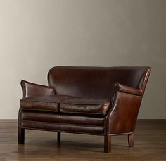 Professor's Leather Double Chair With Nailheads Restoration Hardware Leather Loveseat, Loveseat Sofa, Settee, Leather Chairs, Leather Lounge, Leather Furniture, Leather Restoration, Restoration Hardware, Home Decor Furniture