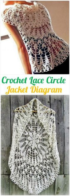 DIY Crochet Lace Circle Jacket Free Diagram -Crochet Circular Vest Sweater Jacket Patterns