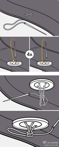 The proper way to sew a button on