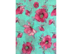 Georgette Chiffon Soft Touch Sheer Fabric - Sea Green/ Cerise Pansies CHF250 SGRCR