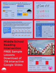 Check our the Teaching Reading Strategies (Intervention Program) for middle school students and download 2 free sample lessons of 178 Google Slides. Response To Intervention, Reading Assessment, Reading Intervention, Common Core Vocabulary, Academic Vocabulary, Teaching Vocabulary, Teaching Reading Strategies, Reading Resources, Reading Comprehension