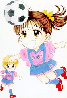 Chibi Miki and Yû play football!