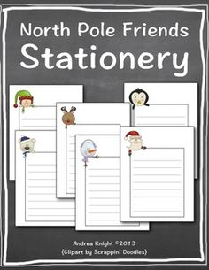 FREE Winter Writing Stationery:  North Pole Friends {This download includes 6 different blank writing templates.}