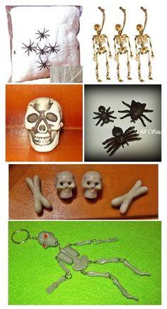 Geisterstunde im Puppenhaus: Auswahl Skelett Totenkopf Knochen Spinnen Spinnweben Insekten gruseln bastelnDIY