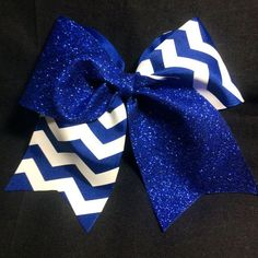 Royal Blue Glitter with White Chevron Cheer Bow by BSBowzandThingz ...