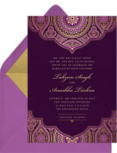 Indian Inspired Invitation in Purple Kensington House, Budget Planner, Guest List, Wedding Story, Traditional Wedding, Wedding Suits, Iridescent, Wedding Cards, Purple