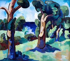 Landscape with trees. Cartoon Network Adventure Time, Adventure Time Anime, Classic Paintings, Small Paintings, Degenerate Art, Ernst Ludwig Kirchner, Blue Rider, Surrealism Painting, Schmidt