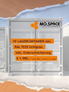 Neuer 10' Lagercontainer inkl. Einbruchsicherung von MO.SPACE zum TOP-Preis: € 1.990,-. Nutze unsere Aktion bis inkl. 30. September 2020 und spare dir wertvolles Geld. Gerne können wir dir den mobilen Lagerraum auch zu dir nach Hause oder zu deiner Firmenadresse liefern. Unsere weiteren Depots: Enns, Schwanenstadt, Wiener Neustadt und Graz. * Preis versteht sich exkl. 20 % MWST / ab Depot Bruck a. d. Leitha / gültig solange der Vorrat reicht 👉🏻 +43 664 432 58 60 Home Decor, Moving Boxes, Storage Room, Wrapping, Summer, Decoration Home, Room Decor, Home Interior Design, Home Decoration