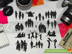 Happy Family People Funny Silhouette Clipart by LittleFoxDigitals