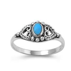 turqoise rings For Women   Sterling Silver 8mm Heart & Oval Turquoise Stone Ring (Size 5 - 9)