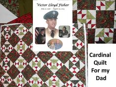 My father loved cardinals. I was pleased to find this fabric and be able to create a beautiful quilt for him to enjoy.  Having lost him in 2014, I feel his presence each time I look at this quilt.