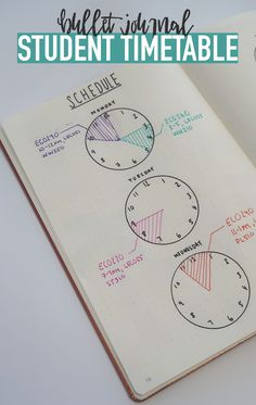 Bullet Journal STUDENT TIMESTABLE...Use clocks to keep track of your schedule so you're always on time :) (Diy Crafts For School)