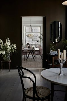 Dark interior Black Rooms, Dark Interiors, Scandinavian Home, Abigail Ahern, Dining Rooms, Dining Area, Kitchen Dining, Dark Walls, Small Castles