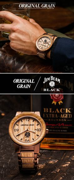 Original Grain / Jim Beam Black Collaboration - Limited Edition Kits Numbered 1 Through 500. Watch features Reclaimed Oak From Jim Beam® Bourbon Barrels And Automatic 8215 Miyota Movement.