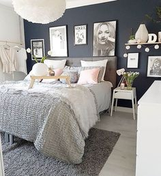 cozy grey and white bedroom ideas; bedroom ideas for small rooms; bedroom decor on a budget; Budget Bedroom, Small Room Bedroom, Home Decor Bedroom, Modern Bedroom, Master Bedroom, Bedroom Ideas Grey, Design Bedroom, Bedroom Inspo, Small Rooms