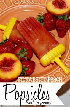 Strawberries and peaches make the best popsicle flavor! Keep the kids cool this summer and get them to eat fresh fruit with these homemade popsicles.