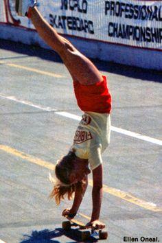 Skateboarder Ellen O'Neal doing a handstand mid-ride, 1970s. Upside down inspiration for my new book Handstand! #handstandbook #lisastickley #pavilionbooks