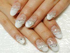 wedding nail -- white lace