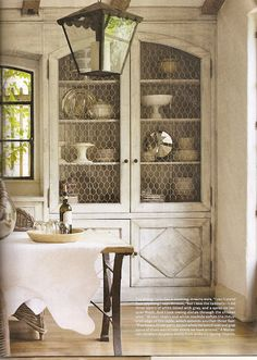 Built in- Yes, please ! love the lantern and  chicken wire. HOUSE Beautiful - originally