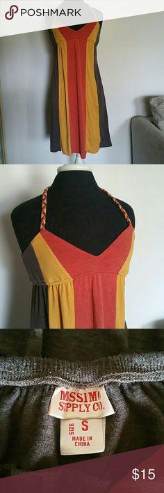 Color blocked halter dress Orange, yellow, and brown color blocked halter dress. Braided straps. Mossimo Supply Co Dresses Midi
