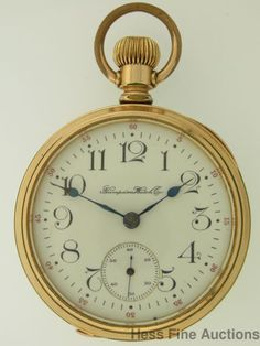 Scarce 21J John Hancock Hampden 18s Antique Open Face Pocket Watch #Hampden