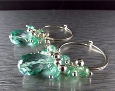 Pretty checkerboard cut green amethyst gems dangle below vibrant lime green peridot quartz and micro faceted green amethyst rondelles. I have used gold filled wire and simple French style ear wires. The focal green amethyst measure 10x10 mm. and the total earring length measures 2 5/8 (65mm.) from the top of the ear wires.