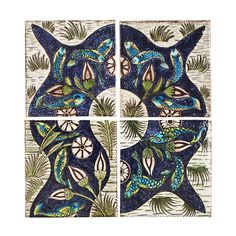 William de Morgan Arts and Crafts Fish Stream 6 four-tile panel Persian Pattern, Mark 4, Tile Panels, Lifelong Friends, Fish Swimming, Aesthetic Movement, William Morris, Tile Design, Stained Glass