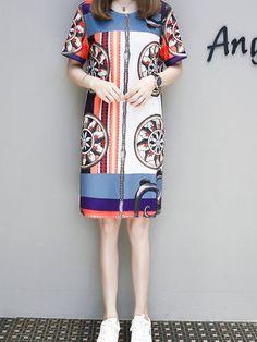 Elegant Women O-Neck Short Sleeve Printed Straight Dress