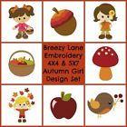 Autumn Girls Digital Machine Embroidery Designs 4X4 & 5X7 Set On CD