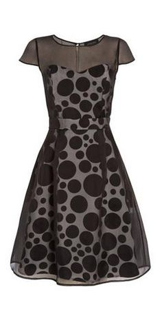Jaeger Variagated Spot Silk Organza Dress, Black/White