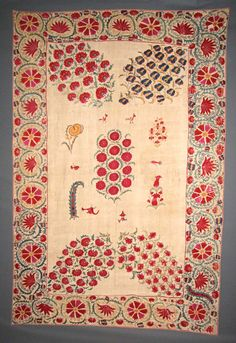 antique Nurata Suzani, Central Asia. 19th c. Handmade silk embroidery, ethnic textiles.