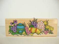 Easter Egg Garden F363 Hero Arts Wood Mounted Rubber Stamp Border Flowers #HeroArts #Border